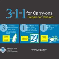 "TSA Graphic explaining ""3-1-1"" for the quart sized ziplock bag to go through security"