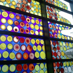 Stained glass window in Seattle Airport on the way to the train between terminals.