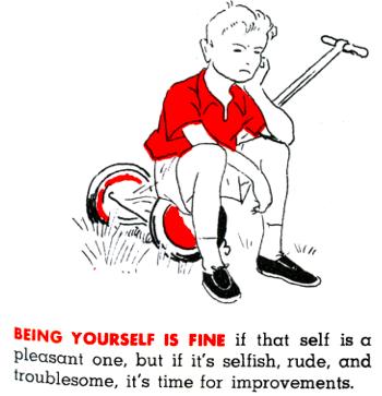 Illustration of disgruntled boy, circa 1950s