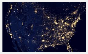 Aerial of USA at night