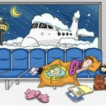 Cartoon of woman sleeping on an airport bench.
