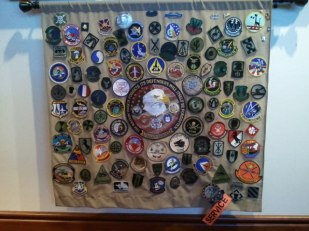 A big banner of badges decorates one of the walls