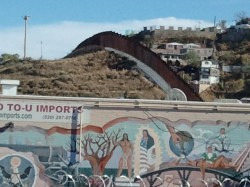 Art on the wall between Mexico and the US