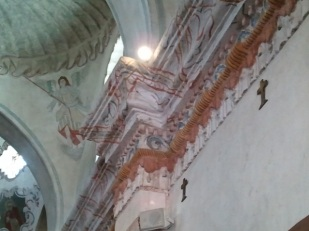 Hundreds of angels fill the interior of the mission.