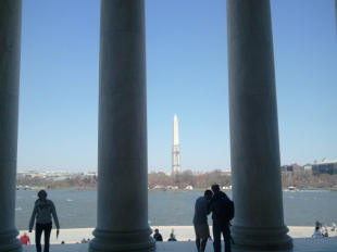 Washington Monument through columns of Jefferson Memorial