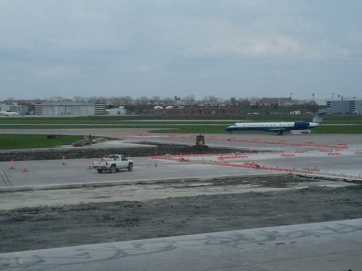 Construction on the tarmac from the windows of the Flyer's Club.